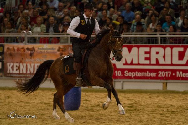 Stefan Baumgartner, Gernot Weber präsentierten die Working Equitation, Americana 2015
