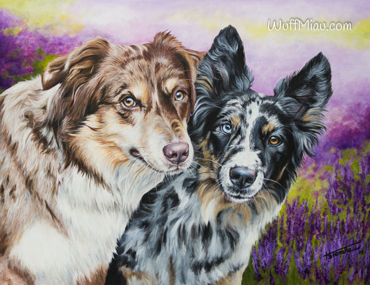 "Australian Shepherd ""Maevee und Aimee"", Acryl auf Leinwand, 90x70, 2017, Hundemalerei von Hanna Stemke, WuffMiau"