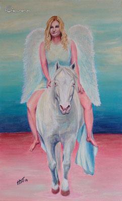 """""""Engel die uns begleiten"""", Acrylic on Canvas, 68x42, 2014"""
