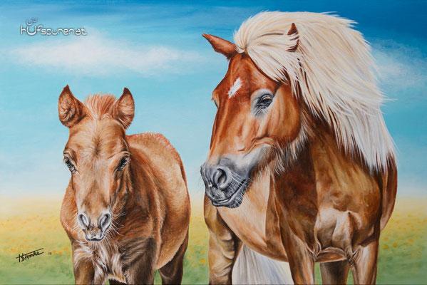 """Pony mit Fohlen, """"Tinkerbell mit Fiby"""", Acryl auf Leinwand, 90x60, 2016, Pferdemalerei von Hanna Stemke, Hufspuren"""