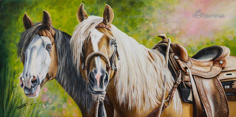 "Paint Horse und Quarter Horse ""Smokin Peppy Lena & BJ Kings Cody Pine"", Acryl auf Leinwand, 100x50, 2016, Pferdemalerei von Hanna Stemke, www.hufspuren.com"