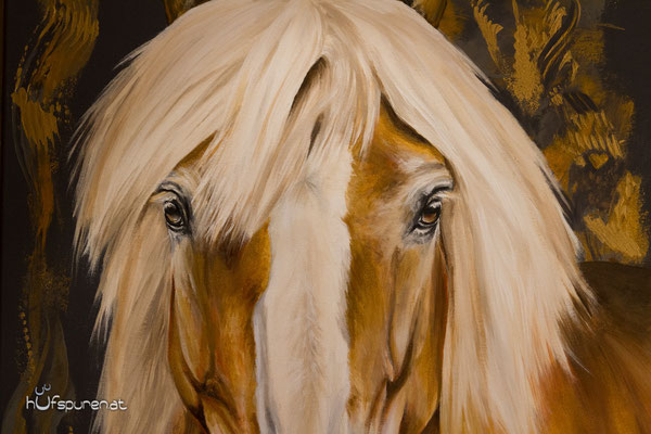 Acrylgemälde mit Gold, Haflinger Nimbus, Hufspuren-Pferdegemälde von Hanna Stemke
