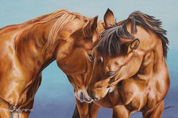 """Paint Horse und Quarter Horse, """"Roulette und Badger"""", Acryl auf Leinwand, 90x60, 2016, Pferdemalerei von Hanna Stemke, www.hufspuren.com"""