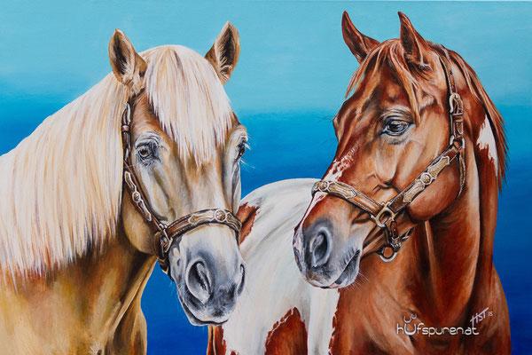 "Haflinger & Paint Horse ""Lucky & SR Bommers Coconut"", Acryl auf Leinwand, 90x60, 2015, Pferdemalerei von Hanna Stemke, www.hufspuren.com"