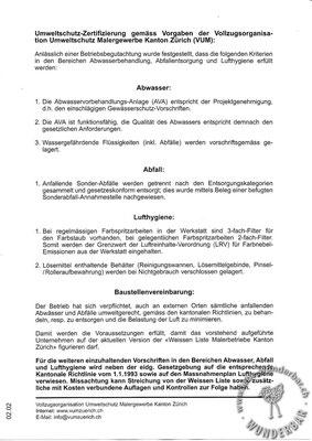 Umweltschutzzertifikat Zürich S2