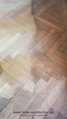This woodfloor has seen quite some spills