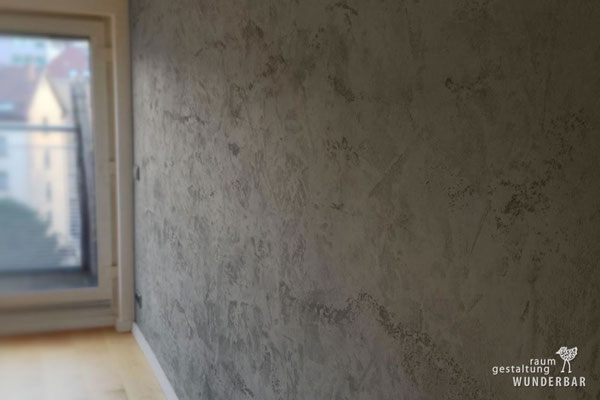 """""""Concrete Travertine"""" seamless wall design for a living room zurich"""