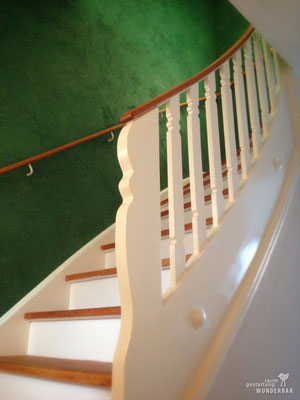 """Stairs & Wall"" renovation with green vintage wall art"