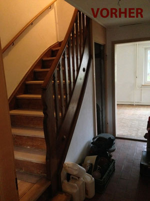 Treppe Vorher: Alt & etwas schäbig, aber mit Potenzial :)