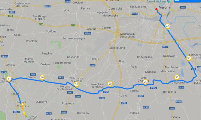 Tracciato GPS seconda tappa Valeggio SM - Verona