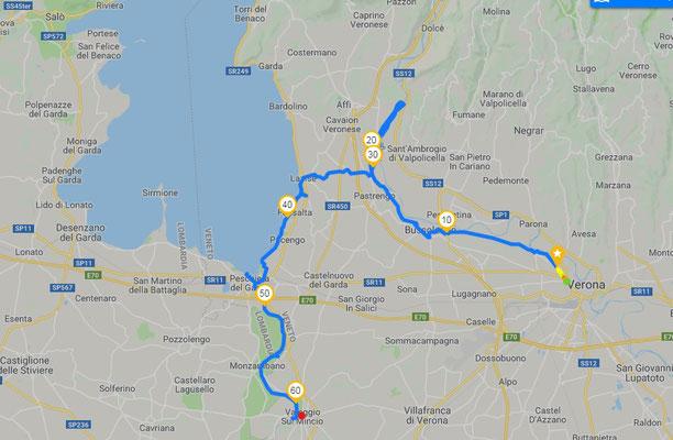 Tracciato GPS prima tappa Verona -Canale Medio Adige -Lazise -Valeggio