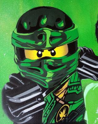 grüner Ninja, Leinwand auf Keilrahmen