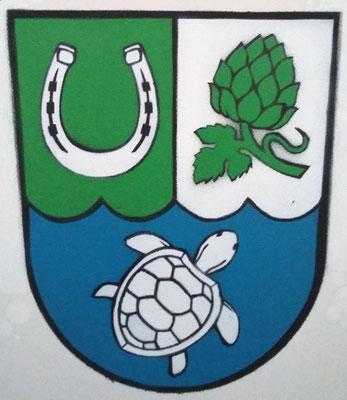 Wappen der Gemeinde Hoppegarten, Leinwand auf Keilrahmen