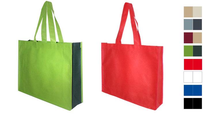 2 farbig abgesetzte Vliestaschen aus Non Woven mit langen Tragegriffen genähte Aüsfürung Variante Tragetasche City Mehrwegtaschen aus Woven