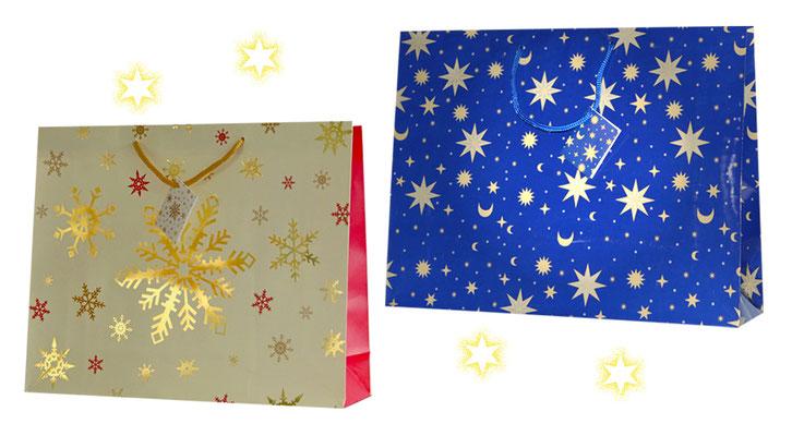 Weihnachtstaschen Sterne gezeitgt werden 2 Weihnachtstragetaschen Blue Star und Schneesterne mit passender Kordel al Griff matt und glänzend plastifiziert