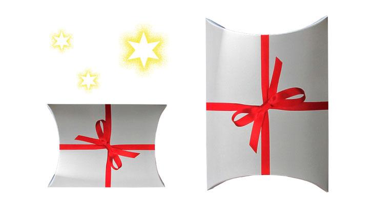Kissenverpackung mit roter Schleife Weihnachtsverpackung Geschenkkarton Weihnachten und zu besonderen anlässen