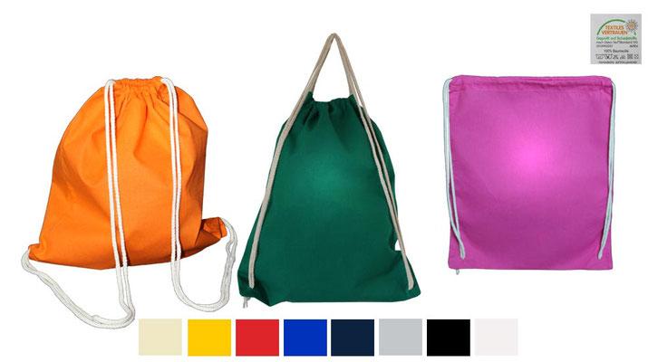 Turnbeutel Matchsack in 11 verschiedenen Farben Kordelzugbeutel natur - gelb – orange – rot – royalblau – dunkelblau – grün – hellgrau – anthrazit – schwarz oder weiß mit langen Kordeln aus Baumwolle Zuziehbeutel