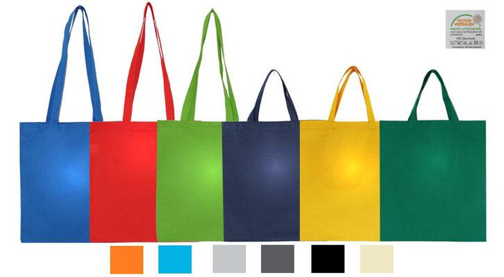 Baumwolltaschen im Format 38 x 42 cm in den Farben natur gelb orange rot hellblau royalblau dunkelblau maigrün grün hellgrau anthrazit schwarz und weiß mit langen und kurzen Griffen