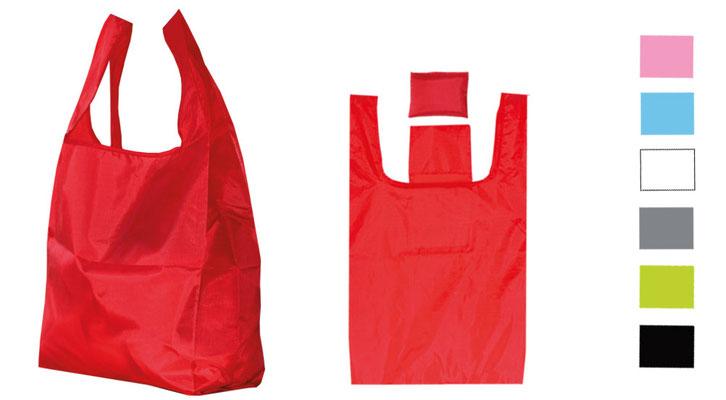 faltbare Polyestertaschen mit Hemdchengriff und praktischer innentasche zum verstauen der klein gefaltete Tragetaschen Falttaschen in sech unterschiedlichen Farben wie blau grün rot pink grau & weiß diese stabilen Einkaufstaschen lassen keie Wünsche offen