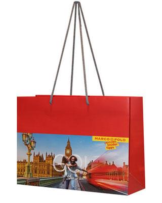 Papiertragetaschen Querformat mit Foto bedruckt und Kordel Griff
