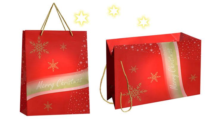 Weihnachtstaschen Merry Christmas vollflächig rot bedruckte Weihnachtstasche mit golden Sternen und Schweif als Griff wurden goldene Kordeln aus PP eingeknotet