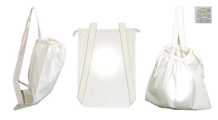 Rucksack aus Baumolle als Werbetasche Baumwollrucksack mit Kordelzug um 2 langen Schulterbänder Schultergurt  im Format 38 x 50 cm in  Fabre natur beige