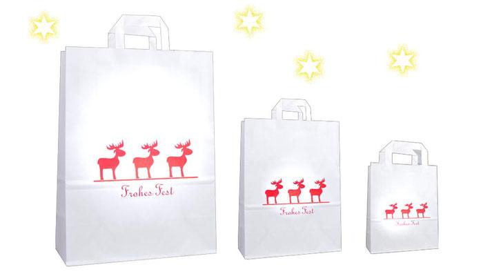 Weihnachtstüten mit roten Elch Elchen und Frohes Fest bedruckt einfache günstige Weihnachtstüte aus Papier in 3 Größen und Formaten