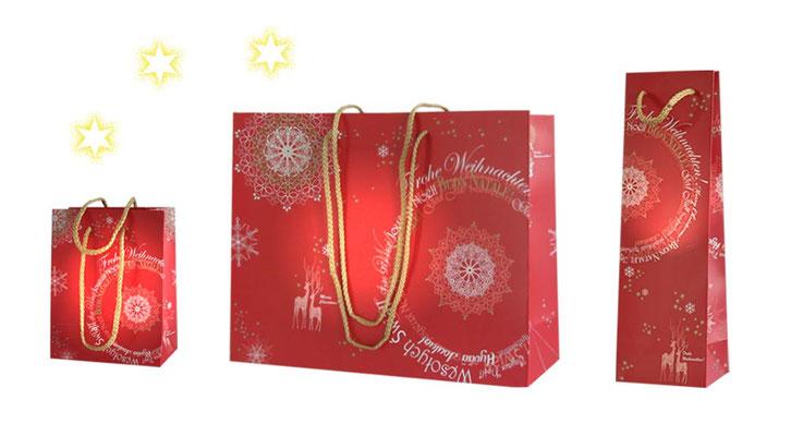 Weihnachtstaschen Natale M für Geschenke in 2 Größen mit Griffen Kordeln in kurz oder lang und Weinhnachts Taschen für Flaschen mit kurzen PP-Kordeln
