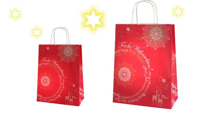 Papiertragetaschen rot mit Weihnachtsmotiv bedruckt Modell Nathale A mit weißen Papierkordeln