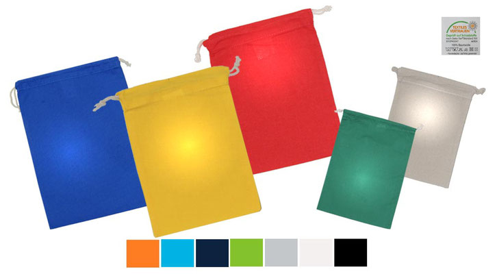 Baumwollbeutel in den Farben natur - gelb – orange – rot – hellblau – royalblau – dunkelblau – maigrün – grün – hellgrau – schwarz und weiß mit Kordelzug oder Zuziehkordel als Kordelzugbeutel