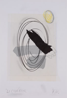 Reimo Wukounig, Collage auf Papier, aus der Serie Le Code Noir, Das Nachtgold, 5, 2021, ©St. Reichmann 2021