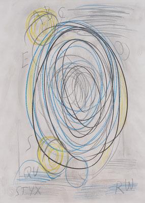 Reimo Wukounig, Mondabsturz STYX, 2014, Farbstift Bleistift auf Papier,  ©St. Reichmann 2021