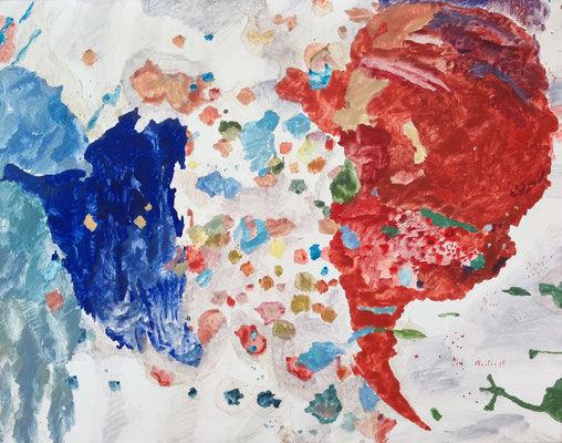 Max Weiler, blau und rot combination, 1989, Eitempera auf Leinwand, 70,5x90,5cm © Max Weiler Nachlass