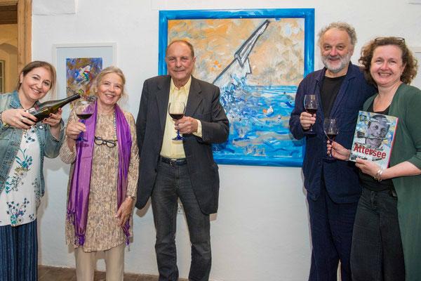 Monica Menna, Judith Walker, Attersee, Rainer Metzger und Daniela Gregori, 1. August 2021, Schloss Ebenau ©Dieter Arbeiter, Galerie Walker
