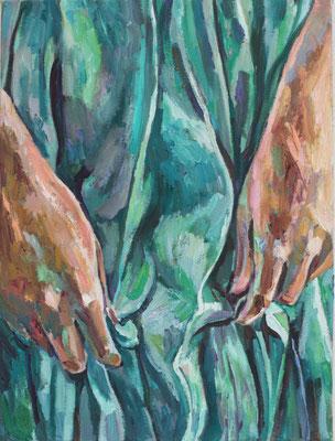 Helga Druml, Hände 1, 2020, Öl auf Leinwand, 60x45 cm, © bei der Künstlerin