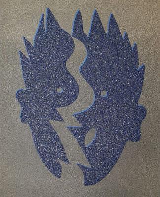 Kiki Kogelnik, Split Blue1996, Muranoglassplitter und Siebdruck, signiert, datiert, betitelt und nummeriert, 70 x 50, Auflage 100 ©Galerie Walker