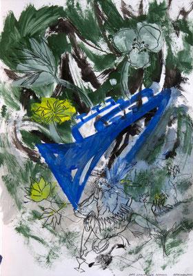 C. L. Attersee, Der gesungene Sommer, 2020, 63x44 cm, Mischtechnik auf Karton, unter Glas gerahmt ©Attersee