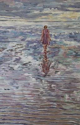 Helga Druml, Am Lido, 2021, Öl auf Leinwand, 140x90 cm, © bei der Künstlerin