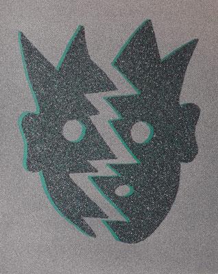 Kiki Kogelnik, Split Emerald, Muranoglassplitter auf Siebdruck, signiert, datiert, betitelt und nummeriert, 1996, 70 x 50 cm ©Kiki Kogelnik Foundation
