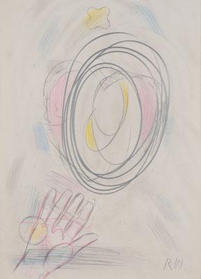 Reimo Wukounig, Hand-Kopf-Herz, 2014, Farbstift Bleistift auf Papier, ©St. Reichmann 2021