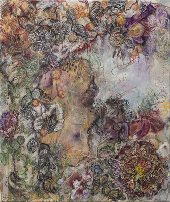 Karin Pliem, Fiume Lete con Navicula Diatomea, 2019, 130x110cm, Öl auf Leinwand, © Richard Zazworka