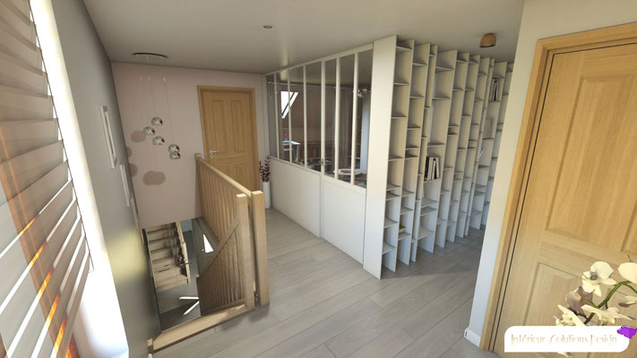 rénovation palier, parquet, murs gris perle, verrière