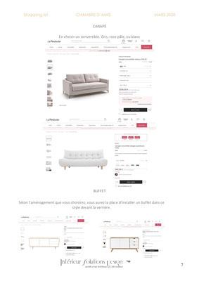 shopping list décoration chambre - choix canapé
