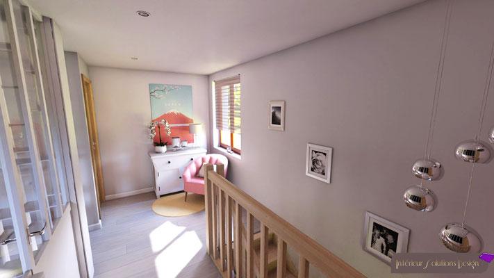 rénovation palier, parquet, murs gris perle