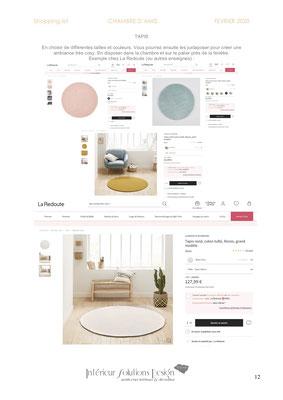 shopping list décoration chambre - choix tapis