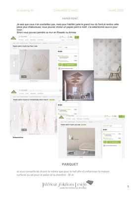 shopping list décoration chambre - choix papier peint