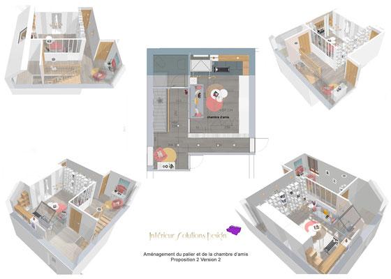plan d'aménagement, variantes, rénovation chambre d'amis sous combles