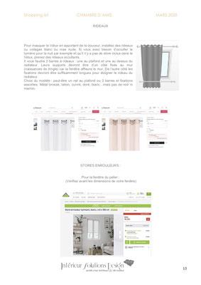 shopping list décoration chambre - choix rideaux