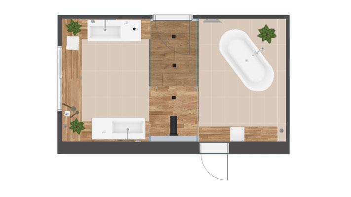 plan salle de bains style zen