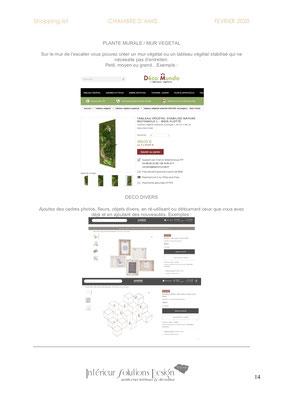 shopping list décoration chambre - choix mur végétal